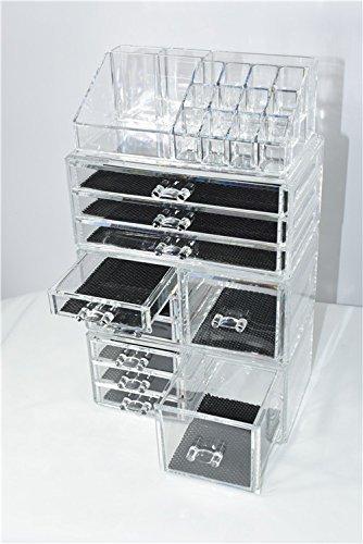 Unique Home 超大容量透明化妆品首饰收纳盒4件套5折 33.99加元包邮!