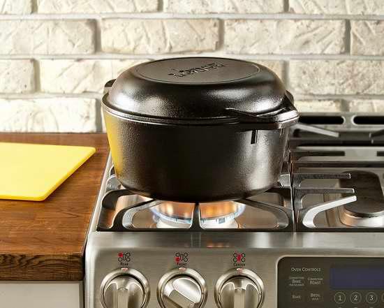 Lodge 洛奇 L8DD3 5夸脫無塗層健康油膜不粘底 鑄鐵炒鍋/煎鍋/燉鍋超值2件套5.4折 66.01加元包郵!