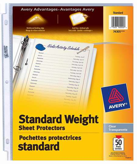 金盒头条:历史最低价!Avery 3孔透明文档保护膜50件套 5.99加元!