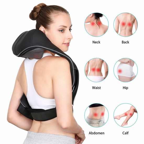 Naipo 红外加热 3D揉捏可调强度 充电式肩颈按摩披肩 87.99加元限量特卖并包邮!