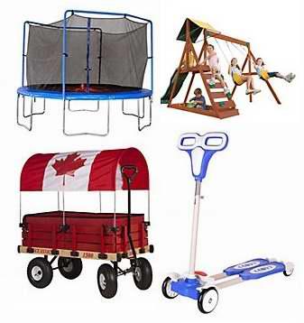 精选多款木质秋千组合、蹦床、拖车、雪橇车、滑板车等儿童户外玩具特价销售,额外再打8.5折!