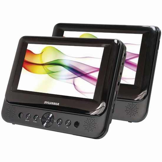 历史新低!SYLVANIA SDVD8739 7英寸车载双屏DVD播放器3.5折 68加元包邮!