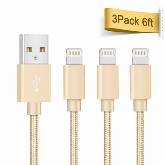 独家:Quntis Lightning to USB 6英尺数据线3件套 12.99加元!