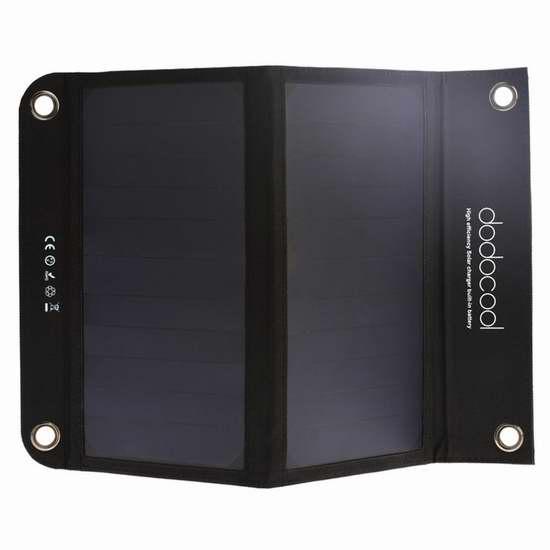 独家!dodocool 10000mAh 户外旅行便携式太阳能手机充电器/充电宝 32.99加元包邮!