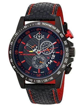历史新低!GV2 by Gevril 瑞士雪飞 9903 Scuderia 男士三眼石英腕表/手表1折 342.57加元包邮!