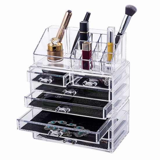 Unique Home 大容量透明化妆品首饰收纳盒3件套 30.59加元限量特卖并包邮!