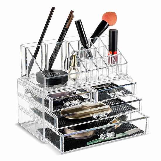 白菜价!Unique Home 透明化妆品首饰收纳盒2件套5折 12.49加元!