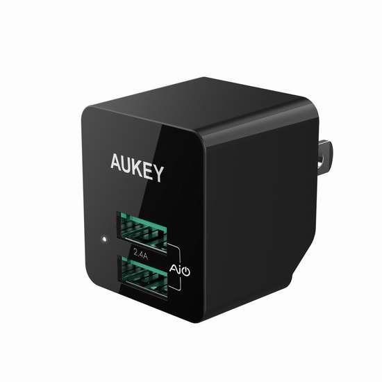 白菜价!历史新低!AUKEY 12瓦双口USB快速充电器2.2折 5加元清仓!送价值29.99加元HiHiLL握力器!