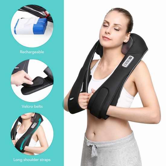 Naipo 红外加热 3D揉捏可调强度 充电式肩颈按摩披肩5.8折 69.99加元限量特卖并包邮!