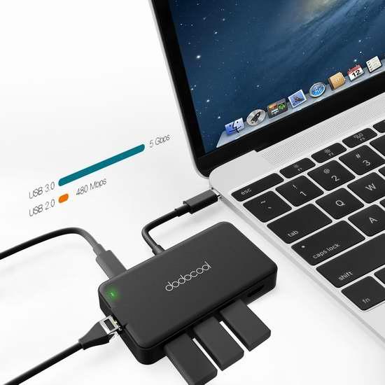 独家!dodocool 7合1多功能 Type-C 集线器,3 USB3.0 + 4K HD输出接口 +VAG接口+RJ-45 以太网接口+Type-C充电接口 44.99-47.99加元包邮!
