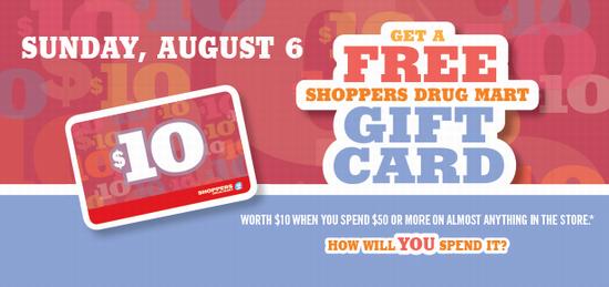 Shoppers Drug Mart 今日店内购物满50元送10元礼品卡!