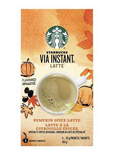 Starbucks速溶南瓜味拿铁咖啡 6.99加元特卖(5包)!