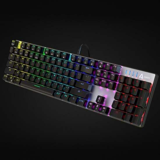 历史新低!AUKEY 104键LED背光 青轴机械游戏键盘4.3折 55.99加元包邮!