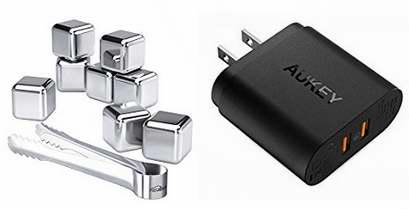 AUKEY 高通快充3.0 双口USB智能快速充电器 20.99加元包邮!送价值27.99加元Kealive食品级不锈钢冰镇石8件套!