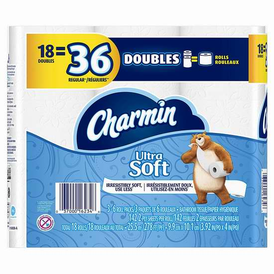 历史新低!Charmin Ultra Soft 超软双层卫生纸18卷5.2折 7.49加元!