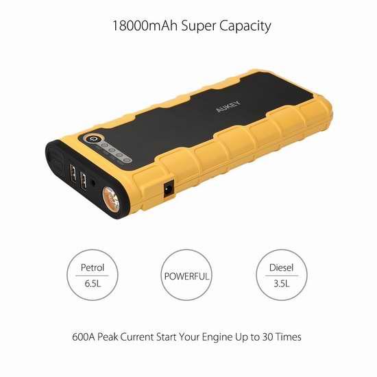 历史最低价!Aukey 12000mAh 便携式多功能移动电源/充电宝/手电筒/汽车电瓶紧急启动电源3.6折 79.99加元包邮!