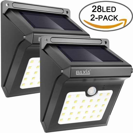 BAXIA TECHNOLOGY 28 LEDs 超亮太阳能防水运动感应灯2件套 22.09加元限量特卖!