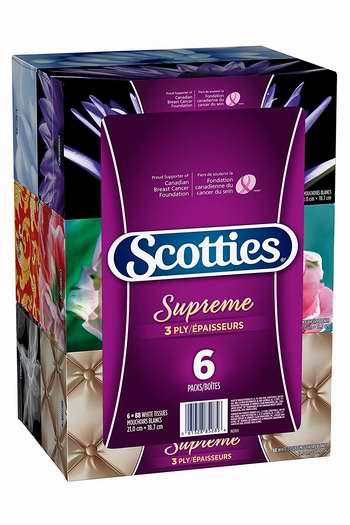 Scotties Supreme 三层超软面巾纸(88张 x 6盒)超值装 5.69加元!