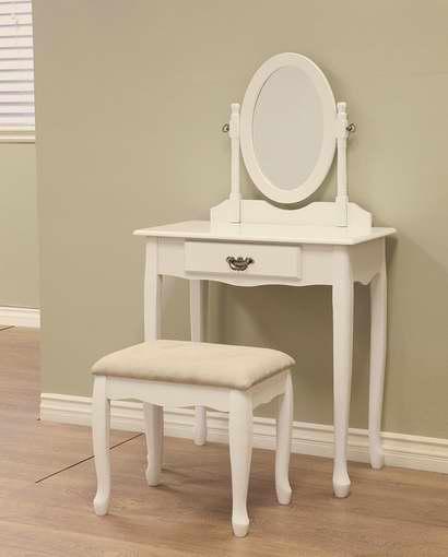 历史新低!Frenchi Home Furnishing 白色梳妆台桌椅3件套 103.28加元包邮!