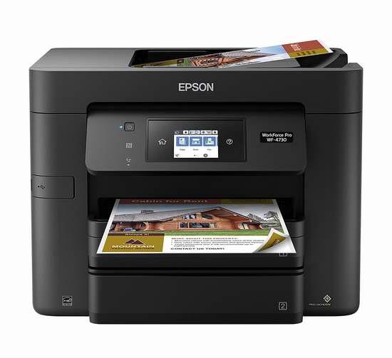 历史最低价!Epson 爱普生 Workforce Pro WF-4730 无线多功能彩色喷墨打印机5折 99.94加元包邮!