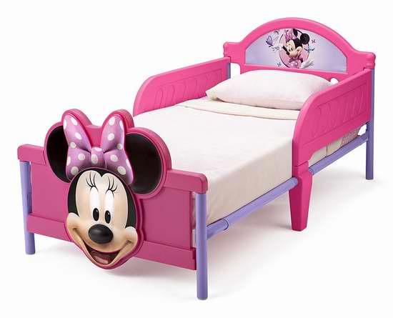 近史低价!Delta Children 迪士尼3D卡通 米妮老鼠儿童床 67.97加元包邮!