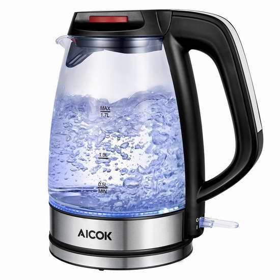 Aicok 1.7升 高级蓝光恒温 玻璃电热水壶 32.25加元限量特卖并包邮!