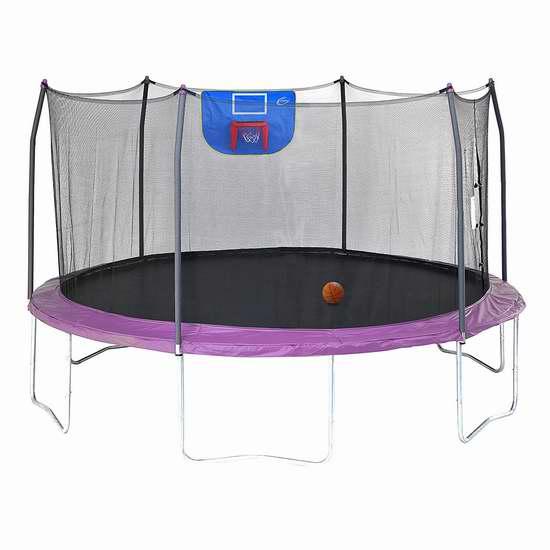 售价大降!历史新低!Skywalker Trampolines 15英尺带保护罩+篮球框 封闭蹦床5折 262.55加元清仓并包邮!