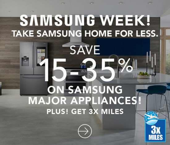 精选133款 Samsung 三星 冰箱、洗衣机、烘干机、炉头、抽油烟机、微波炉等大家电6.5折起特卖!再送3倍里程积分!