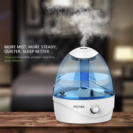 Pictek 2.5升超声波冷雾加湿器 33.99加元限量特卖并包邮!