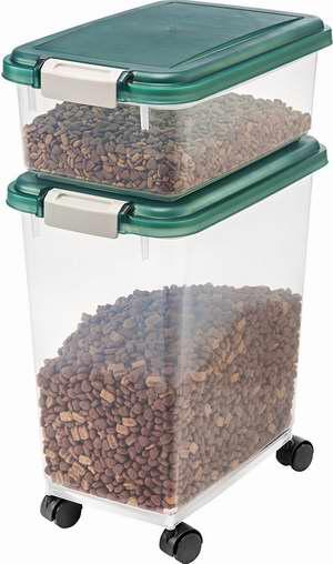 历史最低价!IRIS 12+33夸脱 气密式可滚动宠物食品收纳盒 26.1加元!