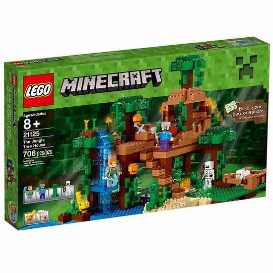 历史新低!LEGO 乐高 21125 Minecraft 丛林树屋(706pcs) 67.49加元包邮!