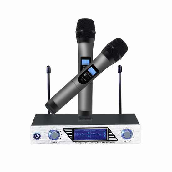 ARCHEER VHF 专业无线麦克风/家用迷你KTV系统4.7折 70.64加元限量特卖并包邮!