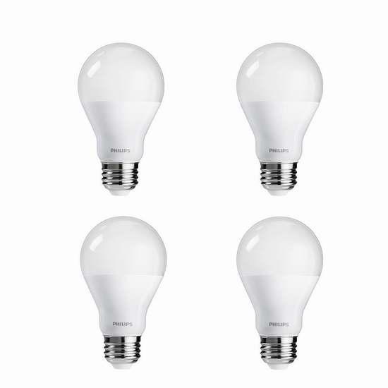 历史新低!Philips 飞利浦 455717 100瓦等效 LED节能灯4件套6.3折 21.85加元!