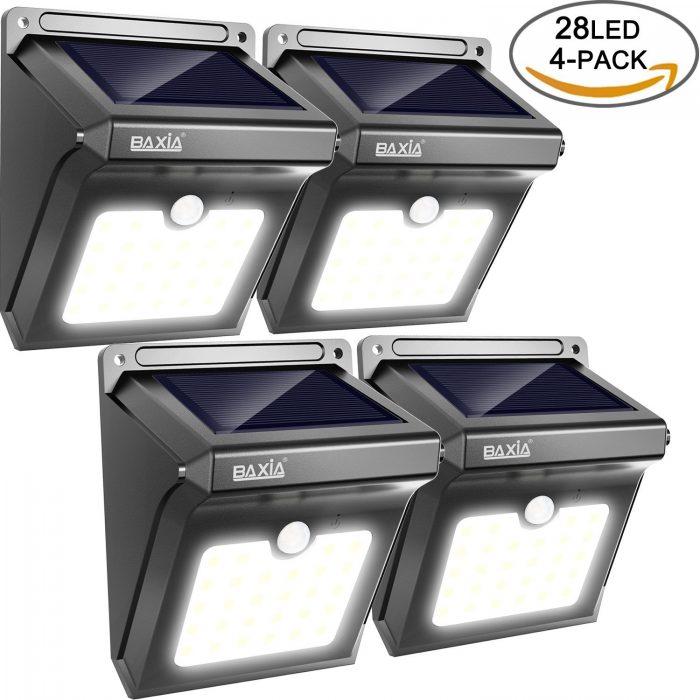 BAXIA TECHNOLOGY 28 LED太阳能防水运动感应灯4件套 36.54加元限量特卖并包邮!