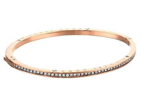 腕表与手链叠戴吸睛哟!Michael Kors Logo 玫瑰色水晶手镯 88.76加元,原价 123.5加元,包邮