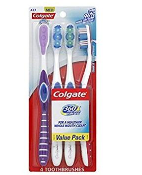 Colgate 360度 成人牙刷 4支装 4.27加元,Walmart同款价 13.97加元