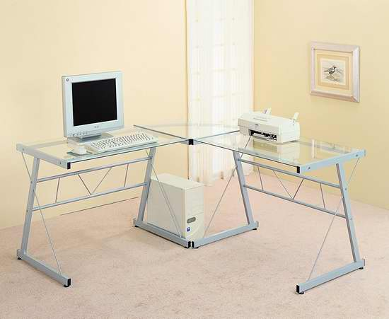 Monarch Specialties L型钢化玻璃办公桌3.8折 149.97加元包邮!