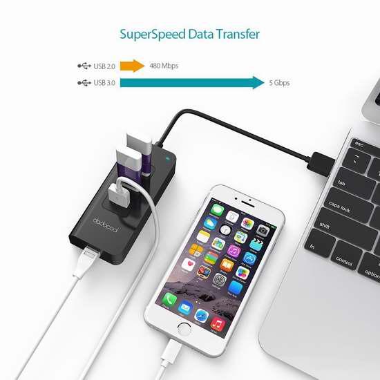 独家!dodocool 三口USB 3.0 集线器 RJ45千兆以太网接口 5折 14.99加元!