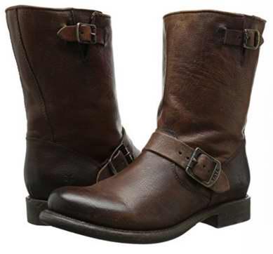 白菜价!FRYE Jenna Engineer 女式真皮中筒靴(5.5码)2折 85.71加元包邮!