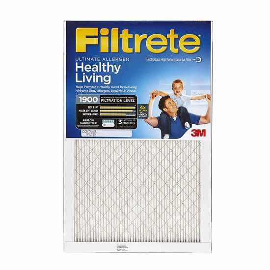 近史低价!3M Filtrete MPR 1900 防过敏家庭空调暖气炉过滤网(16x25x1、4个装) 76.59加元包邮!