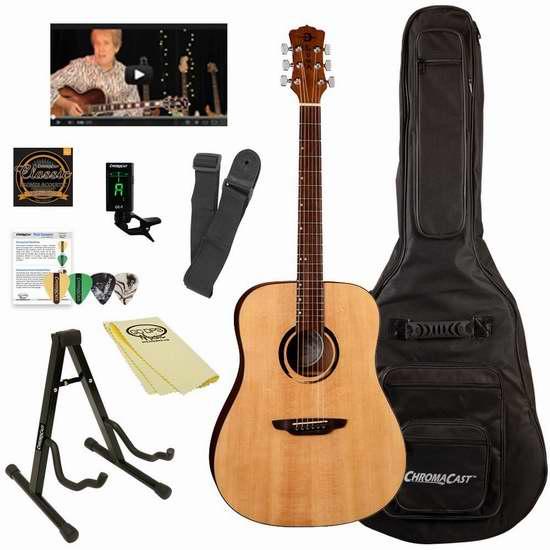 手慢无!历史新低!Luna Guitars Dreadnought 木吉他超值套装1.6折 83.66加元清仓并包邮!