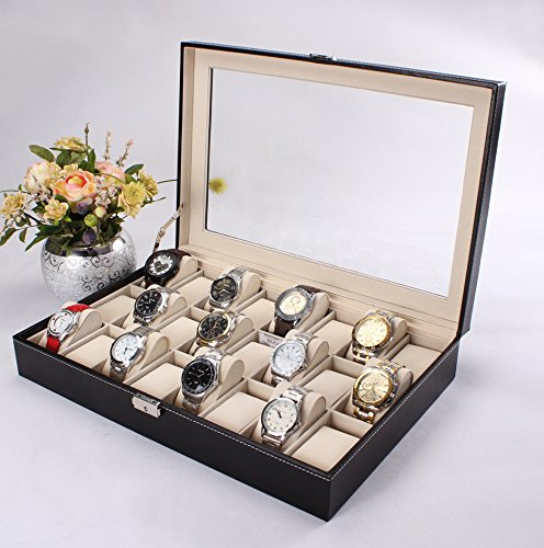 Revesun 黑色皮革手表收纳盒 19.99加元!