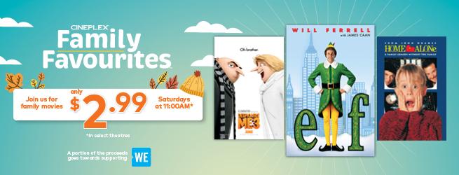 Cineplex Family Favourites 11-12月份合家欢电影安排,每周六仅需2.99加元!本周六上映3D电影《极地特快》!