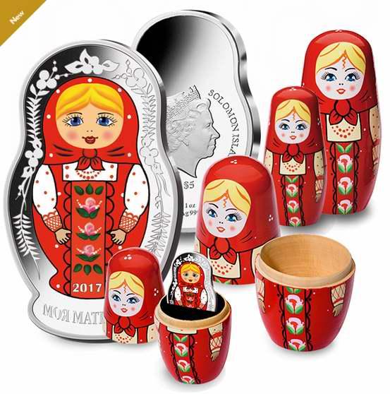 2017年版 1盎司 俄罗斯套娃纯银纪念币 139.95加元包邮!