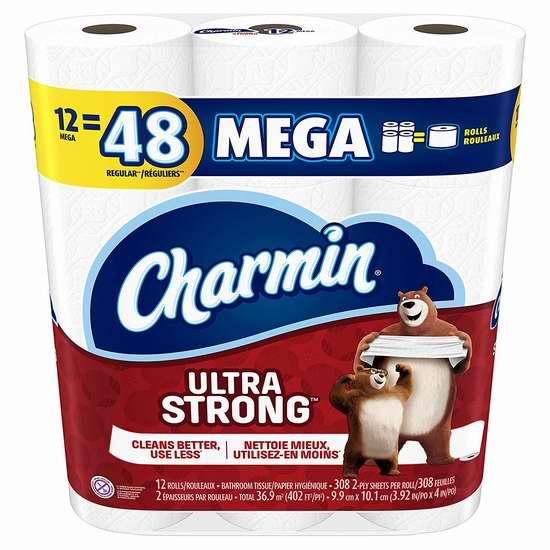 历史新低!Charmin Ultra Strong 超强双层卫生纸12卷3.4折 6.48加元!