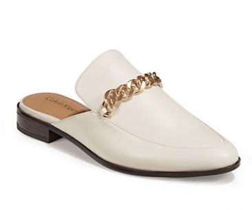 CALVIN KLEIN Frieda 白色金属扣懒人穆勒鞋 65.62加元,原价 175加元