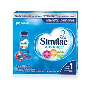 历史最低价!Similac 升级版 1段 omega-3 and omega-6非转基因 婴儿配方液态奶 37.98加元(16×235ml)!