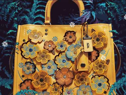 COACH 1941 ROGUE 系列 茶玫瑰嵌花手提包 707.5加元,原价 1415加元,包邮