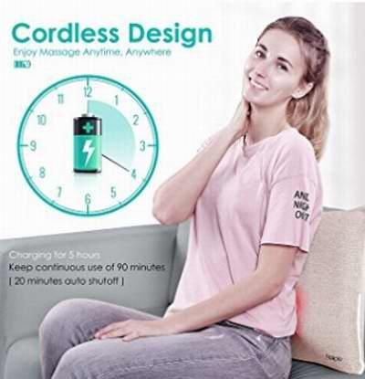 历史新低!Naipo 便携式3D揉捏可调强度 腰背部指压按摩枕2折 34.99加元包邮!