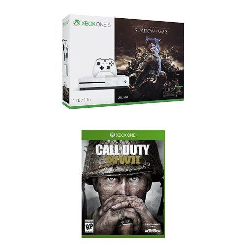 历史新低!Xbox One S 1TB 家庭娱乐游戏机+《中土世界:战争之影》+《使命召唤:二战》套装 379.99加元包邮!